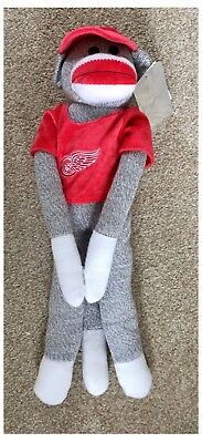 "Detroit Red Wings NHL Ice Hockey Jersey 20"" Hanging Toy Sock Monkey"
