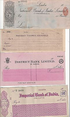 India  British India Bank Checks  7 Different Some Maharaja Issues,  See Scans
