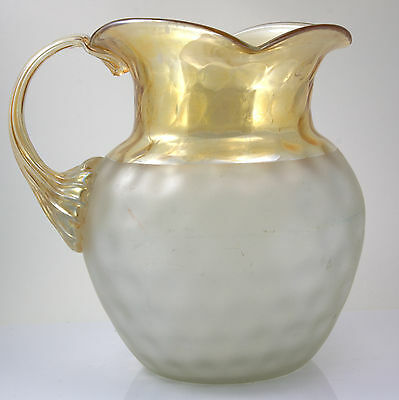 BLOWN POMONA New England Glass MIDWESTERN COIN DOT TRICORN PITCHER Iridescent