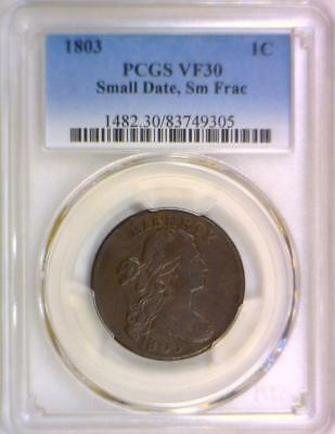 1803 Small Date, Small Fraction Large Cent PCGS VF-30