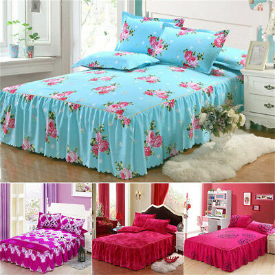 Floral Bedspread Bed Skirt Cover Sheet Queen King Size + 2 Pillow Case Bed Decor