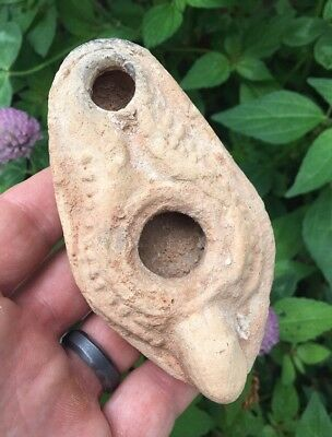 ANCIENT ROMAN POTTERY OIL LAMP CROSS 4th CENTURY AD TERRACOTTA