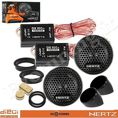 Coppia Casse Tweeter Auto 24 mm Hertz DT 24.3 80W + Crossover + Supporti NUOVI