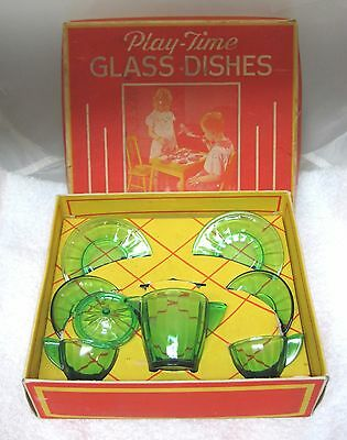 Antique Playtime Glass Dishes Akro Agate Green in Box #1050  Green Tea Set SHP