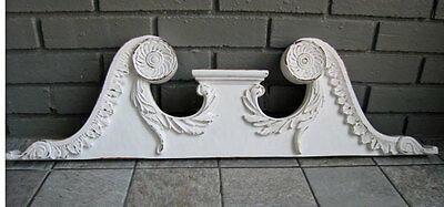 antique COTTAGE CROWN / Pediment *shabby*  Carvings & SCROLLS