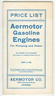 Vintage 1920 Aermotor Gasoline Engines Brochure Catalog Price List Excellent