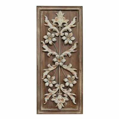 Stratton Home Vintage Panel Wall Sculpture, Natural Wood and White