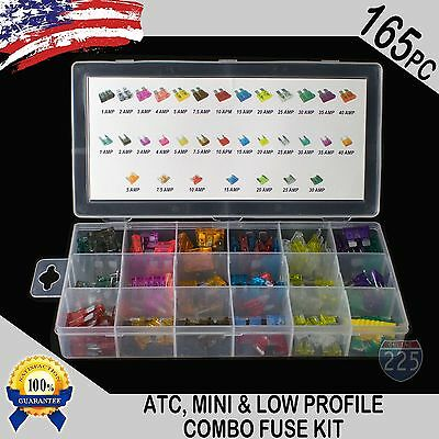 New 165pc ATC / MINI / Low Profile Mini Blade Fuse Assortment Auto Car FUSES Kit
