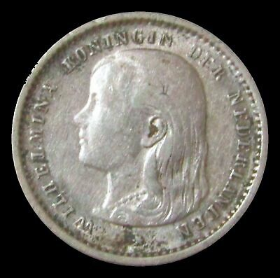 1896 Silver Netherlands 10 Cents Long Hair Wilhelmina Coin Extra Fine Condition