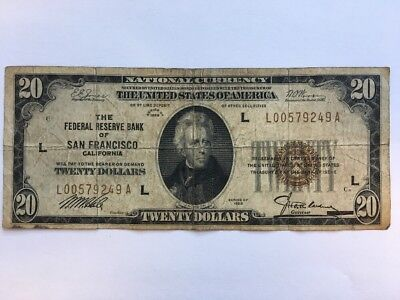 1929 $20 Twenty Dollar Bill National Currency Brown Seal Note - San Francisco CA