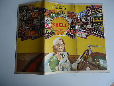 1933 New Jersy Road map license plates shell gas oil station vtg advertising