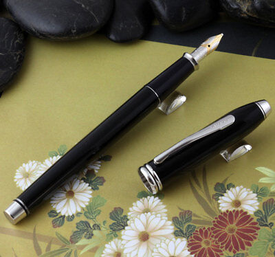 Cross Townsend Black Lacquer / Rhodium Plated Fountain Pen Broad