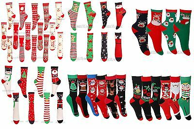 Womens Mens Girls Boys Xmas Socks Assorted Designs Available In Many Sizes Lot