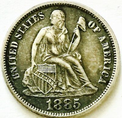 1885 Silver-Liberty Seated Dime~Love Token~Very Nice Condition!