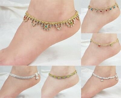 Ankle Bracelet Anklet Indian Bollywood Gold Payal Foot Jewellery Chain Diamante
