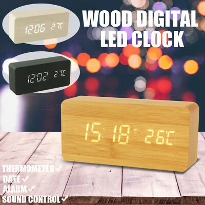 Digital Clock LED Display Wooden Desk Table Temperature Alarm Modern Home Decor