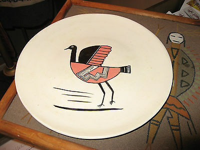 Vintage Santo Domingo Pueblo Pottery Plate New Mexico Signed/Dated 1955
