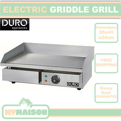 New Electric Griddle Commercial Grill Smooth Stainless Steel Plate 3000W 15A