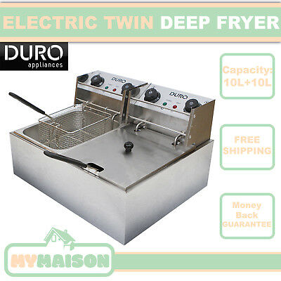 New Electric Deep Fryer Commercial Stainless Steel Twin Frying Basket 20L