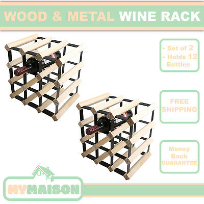 New Pack of 2 12 Wine Bottle Wooden Rack Contemporary Natural Wood Colour