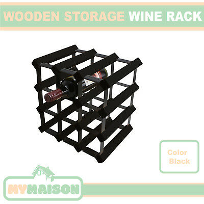 New Pack of 2 12 Wine Bottle Wooden Rack Contemporary Black Timber Colour