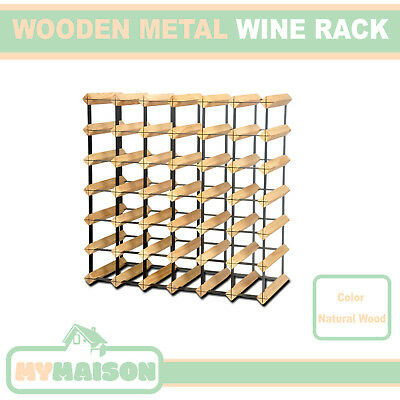 New 42 Wine Bottle Wooden Rack Contemporary Organiser Natural Wood Colour