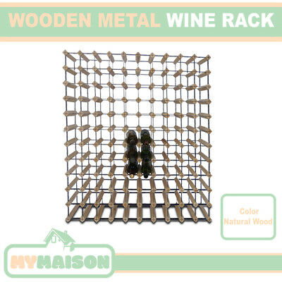New 72 Wine Bottle Wooden Rack Contemporary Organiser Natural Wood Colour