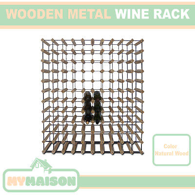 New 110 Wine Bottle Wooden Rack Contemporary Organiser Natural Wood Colour