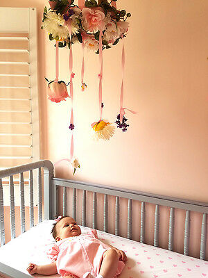 Baby, Nursery Room Hanging Mobile, Floral & Bird Motif, Nursery Decor