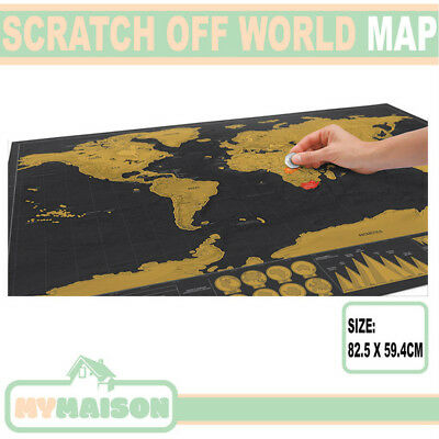 Deluxe Scratch Off World Map Poster Track Travel Atlas 82.5 x 59.4cm