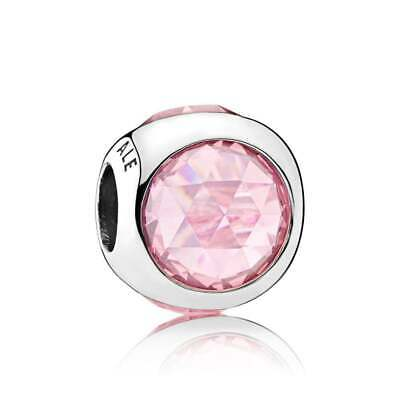 Authentic Pandora Sterling Silver Pink Radiant Droplet Charm #792095PCZ