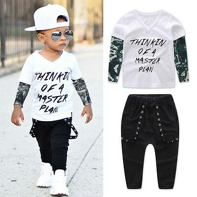 2pcs Newborn Infant Kids Baby Boy Clothes T-shirt Tops+Pants Clothing Outfit Set