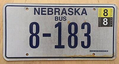 "Nebraska Bus License Plate  "" 8 183 "" Ne"