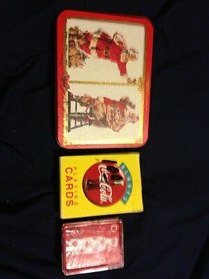 Coke Coca Cola Decks Of Playng Cards Lot Of Three & Tin
