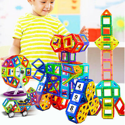 36Pcs Pop DIY 3D Multicolour Magnetic Blocks Construction Building Kids Toy AU