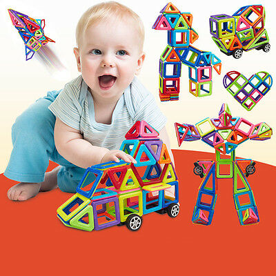 76*Pcs DIY  L 3D Multicolour Magnetic Blocks Construction Building Kids Gift+ AU