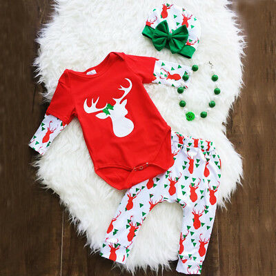 Christmas Newborn Baby Boy Girl Tops Romper Pants Hat 3Pcs Outfits Set Clothes