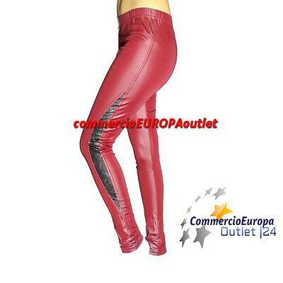 Leggings Rosso Lucido Effetto Pelle Pants Woman Donna Calze Red Stile