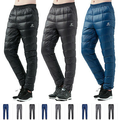 NEW Men Warm Waterproof Breathable Light Real Duck Down Hiking Outdoor Pants