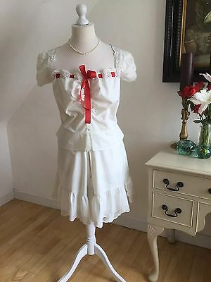 Antique Unworn French Camisole & Split Drawers Combinations Silk Open Whitework