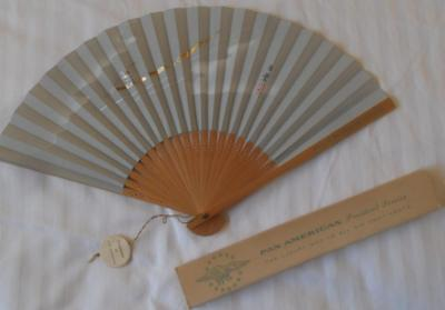 Vintage 1960's Pam American Airlines Fan With Original Box Exc Condition