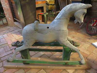Original Rare Antique Lines Rocking Horse In Need Of Restoration Rustic Country