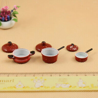 Dollhouse Miniature 3pcs Metal Red Spotted Pan Cookware Kitchen Decor 1/12
