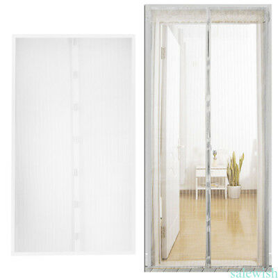 White  Mesh Door Magic Curtain Net Magnetic Snap Bug Insect Fly Mosquito Screen