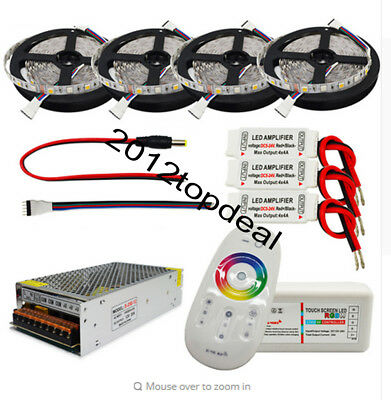 5-25M 5050 RGBW LED Flexible Strip Light+2.4G Controller Remote+Amplifier+ power