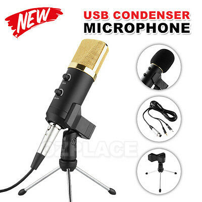 USB Condenser Microphone Studio Tripod Stands Audio Broadcasting Sound Recording