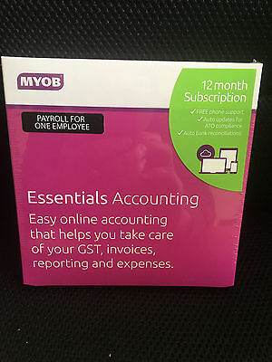 Myob Essentials 1-Payroll/1-Year Subscription Boxed License Rrp $480