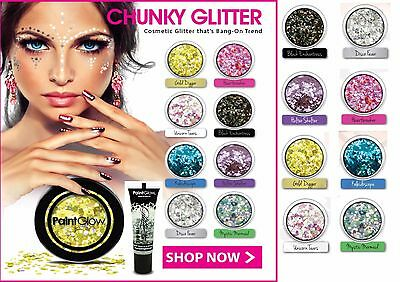 Chunky Eyeshadow Loose Holographic Glitter Face Lips Body, Adhesive Fix Glue Gel