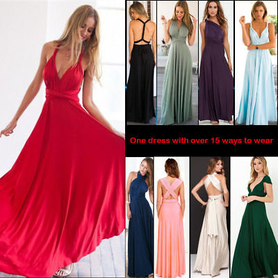 Women Dress Evening Cocktail Party Bridesmaid Formal Gown Prom Long Maxi Dresses