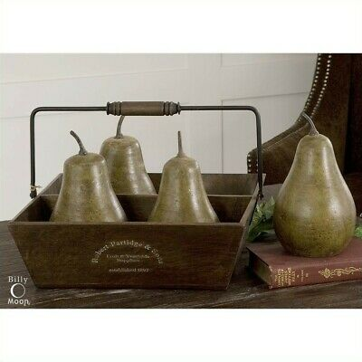 Uttermost Decorative Anitqued Green Pears in Light Brown Basket